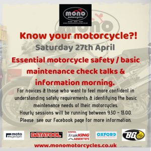 Our events calendar now includes two motorcycle safety & basic motorcycle maintenance sessions.