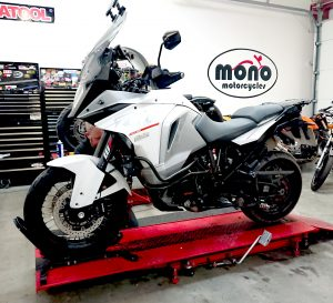 The mighty KTM1290 Super Adventure joined us on Wednesday for a Major Service in advance of a European trip.