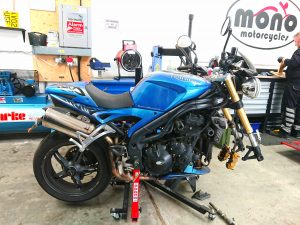 The third bike in the mono motorcycles workshop on Monday, was the aqua blue Triumph Speed Triple.